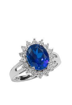 Belk & Co. Platinum Plated Sterling Silver Simulated Sapphire and Cubic Zirconia Ring <br>