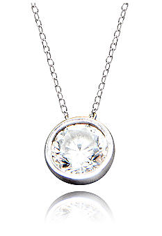 Belk & Co. Platinum Plated Sterling Silver Cubic Zirconia Bezel Set Pendant