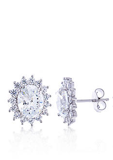 Belk & Co. Oval Cubic Zirconia Earrings in Platinum Plated Sterling Silver