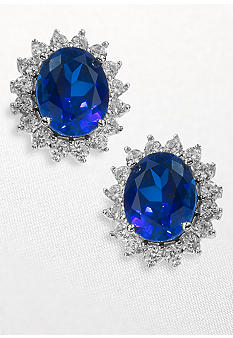 Belk & Co. Platinum Plated Sterling Silver Simulated Sapphire and Cubic Zirconia Earrings