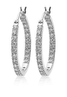 Belk & Co. Platinum Plated Sterling Silver Cubic Zirconia Small Hoop