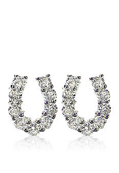 Belk & Co. Platinum Plated Sterling Silver Cubic Zirconia  Horseshoe Earrings