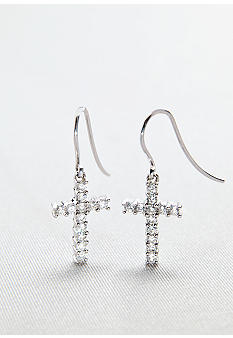 Belk & Co. Platinum Plated Sterling Silver Cubic Zirconia Cross Drop Earrings