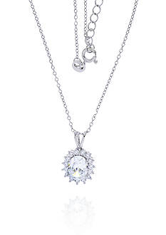 Belk & Co. Cubic Zirconia Oval Pendant Necklace in Platinum Plated Sterling Silver