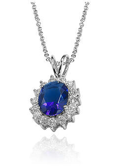 Belk & Co. Platinum Plated Sterling Silver Simulated Sapphire and Cubiz Zirconia Pendant