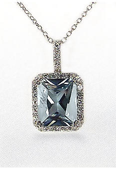 Belk & Co. Platinum Plated Sterling Silver Cubic Zirconia Blue Rectangle Pendant
