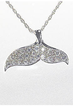 Belk & Co. Platinum Plated Sterling Silver Cubic Zirconia Whale Tale Pendant