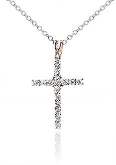 Belk & Co. Platinum Plated Sterling Silver Cubic Zirconia Cross Pendant