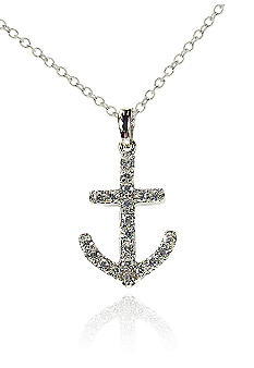 Belk & Co. Platinum Plated Sterling Silver Cubic Zirconia Anchor Pendant