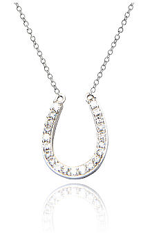 Belk & Co. Platinum Plated Sterling Silver Cubic Zirconia Horseshoe Pendant