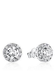 Belk & Co. Platinum Plated Sterling Silver Cubic Zirconia Halo Earrings