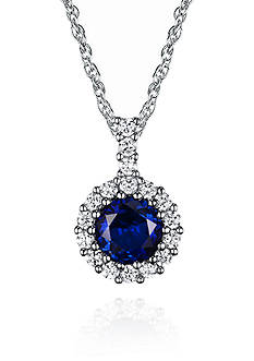 Belk & Co. Platinum Plated Sterling Silver Blue Cubic Zirconia Halo Pendant