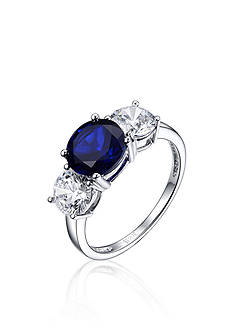 Belk & Co. Platinum Plated Sterling Silver Blue Cubic Zirconia Ring