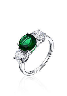 Belk & Co. Platinum Plated Sterling Silver Green Cubic Zirconia Ring