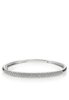 Belk & Co. Platinum Plated Sterling Silver Cubic Zirconia 3-Row Pave Bracelet