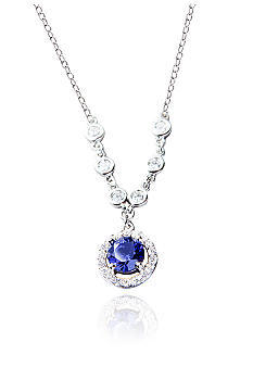 Belk & Co. Platinum Plated Sterling Silver Simulated Tanzanite and Cubic Zirconia Drop Pendant