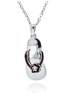 Belk & Co. Platinum Plated Sterling Silver Cubic Zirconia Red Flip Flop Pendant