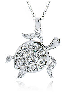 Belk & Co. Platinum Plated Sterling Silver Cubic Zirconia Turtle Pendant
