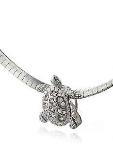 Belk & Co. Platinum Plated Sterling Silver Cubic Zirconia Turtle Slide