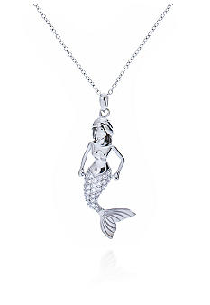 Belk & Co. Platinum Plated Sterling Silver Cubic Zirconia Mermaid Pendant