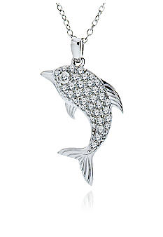 Belk & Co. Platinum Plated Sterling Silver Cubic Zirconia Dolphin Pendant