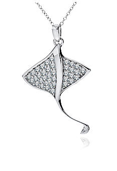 Belk & Co. Platinum Plated Sterling Silver Cubic Zirconia Sting Ray Pendant