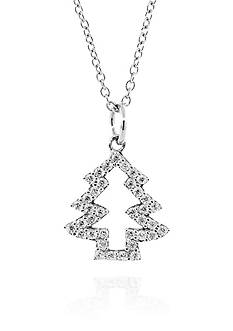 Belk & Co. Cubic Zirconia Pendant in Platinum Plated Sterling Silver