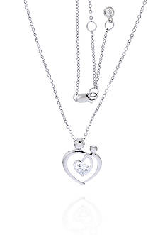 Belk & Co. Diamond Mother and Child Heart Pendant Necklace in Platinum Plated Sterling Silver