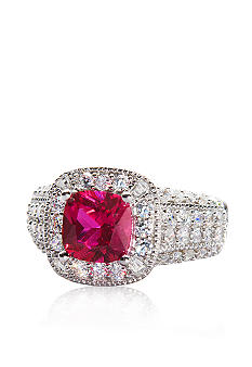 Belk & Co. Platinum Plated Sterling Silver Simulated Ruby and Cubic Zirconia Ring