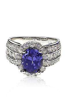 Belk & Co. Platinum Plated Sterling Silver Simulated Tanzanite and Cubic Zirconia Ring