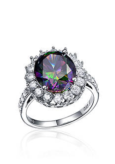 Belk & Co. Simulated Mystic and Clear CZ Ring in Platinum Plated Sterling Silver