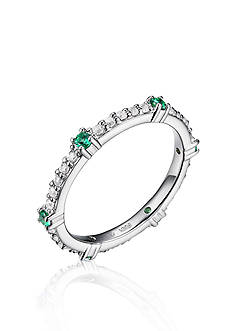 Belk & Co. Platinum Plated Sterling Silver Green and White Cubic Zirconia Stackable Ring