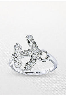 Belk & Co. Platinum Plated Sterling Silver Cubic Zirconia Sideways Anchor Ring