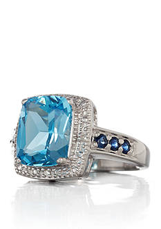 Belk & Co. Sterling Silver Blue Topaz, Sapphire, and Diamond Ring