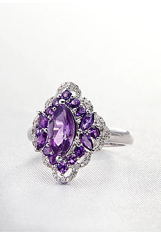 Belk & Co. Sterling Silver Amethyst & Diamond Ring