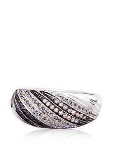 Belk & Co. Sterling Silver Mocha, Black & White Diamond Ring