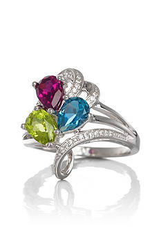 Belk & Co. Sterling Silver Multi Gemstone and Diamond Ring