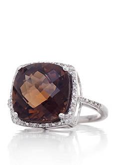 Belk & Co. Sterling Silver Smokey Quartz and Diamond Ring