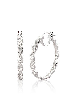 Belk & Co. Diamond Braided Hoop Earrings in Sterling Silver