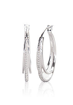Belk & Co. Diamond and Sterling Silver Hoop Earrings