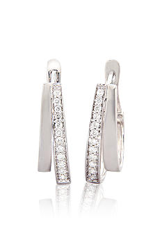 Belk & Co. 1/4 ct. t.w. Diamond Double Hoop Earrings in Sterling Silver