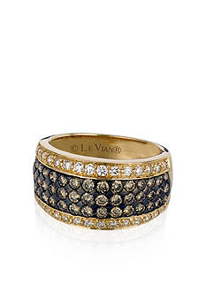Le Vian Chocolate Diamond® and Vanilla Diamond™ Band in 14k Honey Gold™ - Belk Exclusive