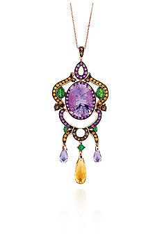 Le Vian Amethyst and Multicolor Stones Pendant