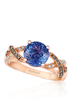 Le Vian 14k Strawberry Gold® Blueberry Tanzanite™ Chocolate Diamond® and Vanilla Diamond® Ring - Belk Exclu