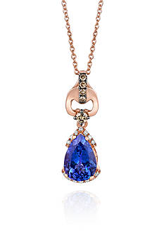 Le Vian 14k Strawberry Gold® Blueberry Tanzanite™, Chocolate Diamond®, and Vanilla Diamond® Pendant- Belk E