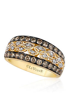 Le Vian Chocolate Diamond® and Vanilla Diamond® Band in 14k Honey Gold™ - Belk Exclusive
