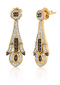 Le Vian Chocolate Diamond® and Vanilla Diamond® Earrings in 14k Honey Gold™ - Belk Exclusive