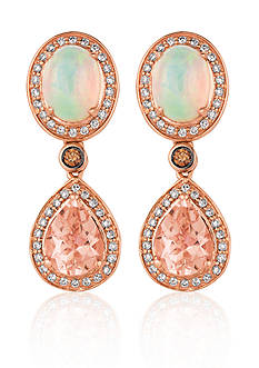 Le Vian Peach Morganite™, Neapolitan Opal™, Vanilla Diamond®, and Chocolate Diamond® Earrings in 14k Straw