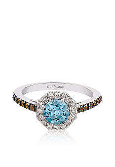 Le Vian Vanilla Gold Aquamarine Ring with Chocolate and Vanilla Diamonds