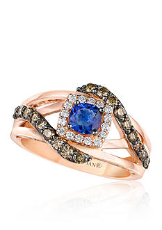 Le Vian 14k Strawberry Gold® Blueberry Tanzanite™, Chocolate Diamond®, and Vanilla Diamond® Ring - Belk Exc